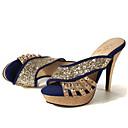 hesapli Kadın Sandaletleri-Kadın's Sandaletler Konforlu Ayakkabılar Stiletto Topuk PU Bahar Siyah / Kırmzı / Mavi