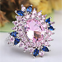 cheap Rings-Women's Amethyst Layered Stylish Solitaire Statement Ring Ring Copper Platinum Plated Imitation Diamond Flower Ladies Unusual Unique Design Classic Hyperbole French Ring Jewelry Pink For Wedding