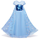 cheap Girls' Shoes-Kids / Toddler Girls' Vintage / Active Party / Holiday Snowflake Sequins / Layered / Mesh Short Sleeve Midi Cotton / Polyester Dress Blue
