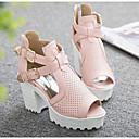זול נעלי עקב לנשים-בגדי ריקוד נשים נעליים PU קיץ נוחות / בלרינה בייסיק סנדלים עקב עבה לבן / שחור / ורוד