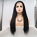 cheap Synthetic Lace Wigs-Synthetic Lace Front Wig Straight Layered Haircut 130% Density Synthetic Hair 26 inch Women / Youth Black Wig Women's Mid Length Lace Front Natural Black / Yes