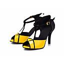 baratos Sapatos de Dança Latina-Mulheres Sapatos de Dança Latina Couro Sintético Salto Salto Grosso Sapatos de Dança Amarelo / Espetáculo / Ensaio / Prática
