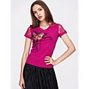 cheap Laundry Bags&Hampers-Women's Basic Cotton Slim T-shirt - Floral Lace / Print V Neck / Summer