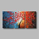 זול ציורי שמן-ציור שמן צבוע-Hang מצויר ביד - מופשט / פרחוני / בוטני עכשווי בַּד / שלושה פנלים