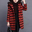 זול קאפוצ'ונים וטרנינגים לבנות-ז'קט ומעיל ארוך שרוול ארוך Houndstooth ליציאה פעיל / סגנון רחוב בנות ילדים