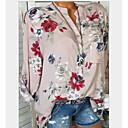 preiswerte Duscharmaturen-Damen Blumen Baumwolle Hemd, V-Ausschnitt