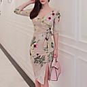cheap Party Headpieces-Women's Cotton Bodycon Dress - Floral Print V Neck / Spring / Floral Patterns