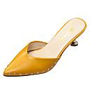 cheap Women's Sandals-Women's Slingback PU(Polyurethane) Fall Clogs & Mules Flared Heel Pointed Toe Black / Beige / Yellow