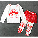 cheap Girls' Clothing Sets-Kids Girls' Basic Christmas Print Long Sleeve Polyester Clothing Set White