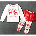 ieftine Seturi Îmbrăcăminte Fete-Copii Fete De Bază Crăciun Imprimeu Manșon Lung Poliester Set Îmbrăcăminte Alb 100