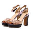 ieftine Sandale de Damă-Pentru femei Pantofi PU Vară Confortabili Sandale Toc Îndesat Auriu / Albastru / Roz