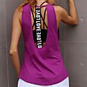 ieftine Îmbrăcăminte de Fitness, Alergat & Yoga-Pentru femei Open Back Yoga Top - Alb, Negru, Violet Sport Scrisă Tank Tops Alergat, Fitness, Dans Îmbrăcăminte de Sport Uscare rapidă, Respirabil, Κατά του ιδρώτα Micro-elastic