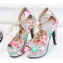 povoljno Ženske cipele bez vezica-Žene Cipele PU Proljeće & Jesen Udobne cipele / Obične salonke Cipele na petu Stiletto potpetica Zelen / Pink