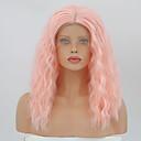 ieftine Peruci Dantelă Sintetice-Lănțișoare frontale din sintetice Pentru femei Buclat Pink Partea centrală Păr Sintetic 14 inch Ajustabil / Rezistent la Căldură Pink Perucă Lungime medie Față din Dantelă Roz