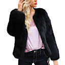 cheap Wedding Wraps-Women's Holiday / Going out Street chic Spring / Fall & Winter Plus Size Short Jacket, Solid Colored Round Neck Long Sleeve Faux Fur Black XL / XXL / XXXL