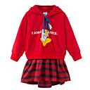 ieftine Costum Baie Fete-Copii Fete Cute Stil Bloc Culoare Manșon Lung Rochie Roșu-aprins 140