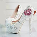 olcso Menyasszonyi cipők-Női Party Heels PU Tavasz & Ősz Magasított talpú Esküvői cipők Tűsarok Kerek orrú Strasszkő / Gyöngy Fehér / Party és Estélyi