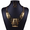 cheap Jewelry Sets-Women's Hollow Out Cuban Link Jewelry Set Statement, Ladies, Rustic / Lodge, Geometric, African Include Hoop Earrings Statement Necklace Gold / Silver For Carnival Club
