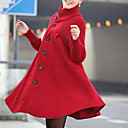 cheap Women's Boots-Women's Daily Basic / Street chic Fall & Winter Long Coat, Solid Colored Turtleneck Long Sleeve Spandex Black / Red / Dark Gray L / XL / XXL