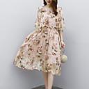 رخيصةأون أطقم ملابس البنات-طول الركبة طباعة, ورد - فستان متناوب بوهو عمل للمرأة