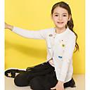 billige Gensere og cardigans til jenter-Barn Jente Grunnleggende Trykt mønster Langermet Normal Polyester Genser og cardigan Hvit