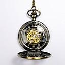 preiswerte Mechanische Uhren-Herrn Taschenuhr Automatikaufzug Gold Transparentes Ziffernblatt Armbanduhren für den Alltag Totenkopf Analog Totenkopf Modisch - Gold