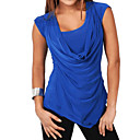 cheap Pillow Covers-Women's Basic / Street chic Plus Size Slim T-shirt / Blouse - Solid Colored Pleated Cowl / Summer / Sexy