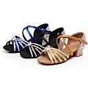 זול נעליים לטיניות-בגדי ריקוד נשים נעלי ריקוד סטן נעליים לטיניות פאייטים / אבזם / פרטים מקריסטל עקבים עקב עבה מותאם אישית שחור / חום / כחול / הצגה / עור