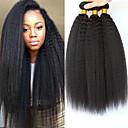 Недорогие Накладки из неокрашенных волос-3 Связки Перуанские волосы Вытянутые 8A Натуральные волосы Необработанные натуральные волосы Человека ткет Волосы Уход за волосами Пучок волос 8-28 дюймовый Естественный цвет Ткет человеческих волос