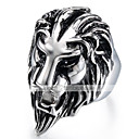 cheap Men's Rings-Men's Vintage Style 3D Band Ring Statement Ring - Titanium Steel Lion Vintage, Punk 9 / 10 Black For Halloween Daily Street