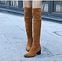 povoljno Ženske čizme-Žene Fashion Boots Brušena koža Jesen Čizme Kockasta potpetica Čizme do koljena Crn / Sive boje / Badem
