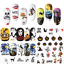 cheap Nail Salon-48 pcs Water Transfer Sticker Skull / Spiders nail art Manicure Pedicure New Design / Classic / Best Quality Statement / Guro Lolita Halloween / Party / Evening / Masquerade