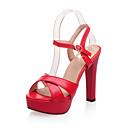 זול נעליים לטיניות-בגדי ריקוד נשים סנדלים נעלי נוחות עקב עבה PU אביב אדום / ורוד / בז'