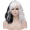 cheap Synthetic Capless Wigs-Wig Accessories Curly Middle Part Synthetic Hair 16 inch Fashionable Design Black / White Wig Women's Short Capless Black / White