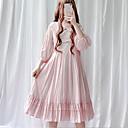 رخيصةأون Lolita فساتين-الحلوه لوليتا فستان عارضة لوليتا عتيق انثى فساتين تأثيري أحمر / أزرق / زهري كم منفوخ 3/4 الكم ميدي ازياء