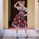billige Veggklistremerker-Søt Lolita Søt Lolita Chiffon Blonde Dame Kjoler Cosplay Rød Sydd Blonde Puffermer Kortermet Midi kostymer