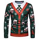 cheap Curtains & Drapes-Men's Christmas T-shirt - Geometric Round Neck / Long Sleeve