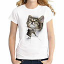 billige Moderinge-Dame - Dyr Bomuld, Denimstof Basale / Gade Plusstørrelser T-shirt Kat / Sommer