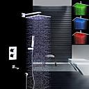 billige LED Dusjhoder-Moderne Vægmonteret Regndusj Hånddusj Inkludert Termostatisk LED Messing Ventil To Håndtak fire hull Krom, Dusjkran