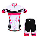 cheap Cycling Jersey & Shorts / Pants Sets-WOSAWE Women's Short Sleeve Cycling Jersey with Shorts - Peach Bike Shorts / Jersey / Clothing Suit, Breathable, 3D Pad, Quick Dry, Anatomic Design, Reflective Strips Floral / Botanical / Stretchy