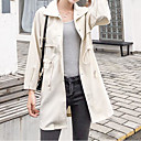 cheap Women's Athletic Shoes-Women's Daily Basic Fall & Winter Long Trench Coat, Solid Colored Turndown Long Sleeve Polyester Gray / Khaki M / L / XL