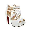 זול נעליים לטיניות-בגדי ריקוד נשים סנדלים נעלי נוחות עקב עבה PU קיץ לבן / שחור
