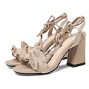 baratos Sapatos de Dança Latina-Mulheres Sapatos Confortáveis Camurça Verão Sandálias Salto de bloco Laranja / Vermelho / Amêndoa