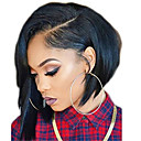 cheap Human Hair Wigs-Remy Human Hair Full Lace Lace Front Wig Brazilian Hair Straight Black Wig Asymmetrical 130% 150% 180% Density with Baby Hair Women Easy dressing Natural Adorable Black Women's 8-14 Human Hair Lace
