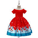 cheap Girls' Shoes-Kids / Toddler Girls' Vintage / Active Christmas / Party / Holiday Cartoon Short Sleeve Knee-length Dress Red