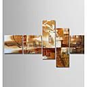 hesapli Soyut Resimler-Hang-Boyalı Yağlıboya Resim El-Boyalı - Soyut Modern Tuval / Beş Panelli