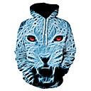 billige Zentai-Herre Gatemote / Punk & Gotisk Store størrelser Bukser - Fargeblokk Løve, Trykt mønster Lysegrønn XXXL / Med hette / Sport / Langermet / Vår / Høst