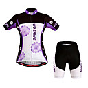 cheap Cycling Jersey & Shorts / Pants Sets-WOSAWE Women's Short Sleeve Cycling Jersey with Shorts - Purple Bike Shorts / Jersey / Padded Shorts / Chamois, Windproof, Breathable, 3D Pad, Quick Dry Polyester, Spandex Floral / Botanical