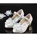 baratos Sapatos de Menina-Para Meninas Sapatos Couro Primavera & Outono Sapatos para Daminhas de Honra Rasos Caminhada Gliter com Brilho para Infantil Prata / Casamento