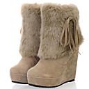 billige Damestøvler-Dame Fashion Boots PU Høst vinter Støvler Kile Hæl Rund Tå Støvletter Svart / Beige / Gul